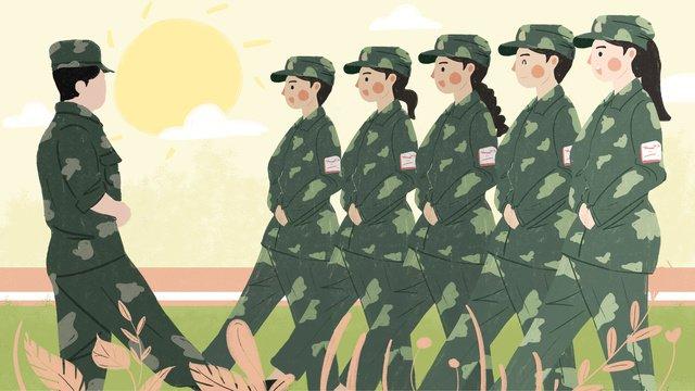원래 그림 군사 훈련 장면 삽화 소재 삽화 이미지