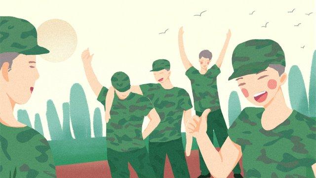 開學軍訓同學打招呼期待快樂新學期手繪插畫 插畫素材