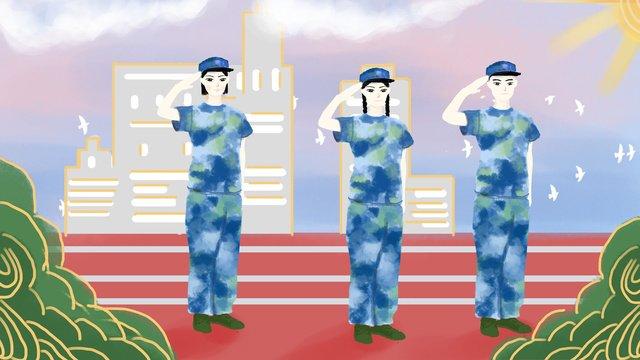 Student training in the beginning of school season, Starting School, Military Training, Playground illustration image