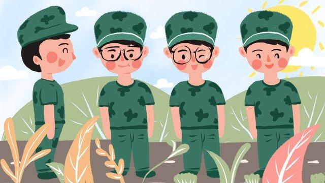 원래 삽화 학기 군 훈련 장면 삽화 소재 삽화 이미지