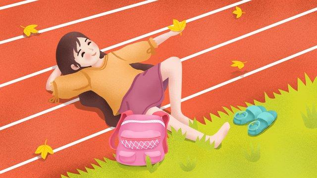 original hand painted illustration september school season girl and playground llustration image