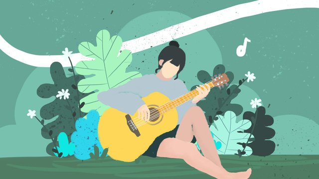 young girl playing guitar on the grass in beginning of school season llustration image illustration image