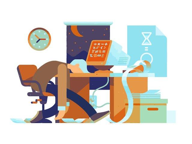 ベクトルのオフィスの昼と夜の残業イラスト イラスト素材