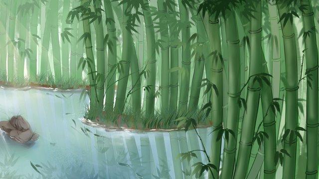 静物竹林手描きのシーンイラスト イラスト素材 イラスト画像