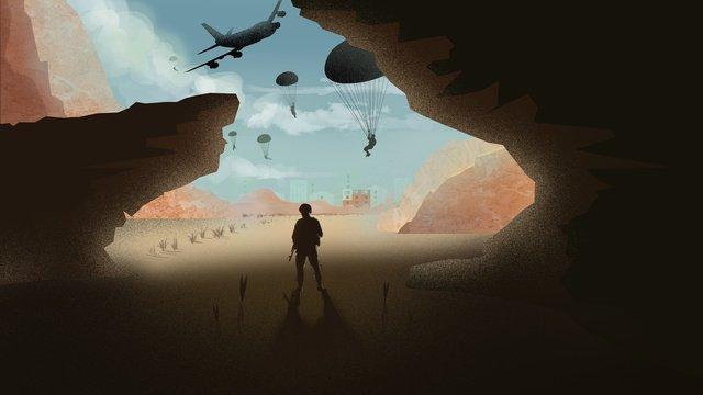 戦場の飛行場のイラストを刺激する イラスト素材 イラスト画像