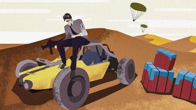 チキンゲーム砂漠グラデーションフラットノイズイラストを食べるために戦場を刺激 イラスト素材 イラスト画像