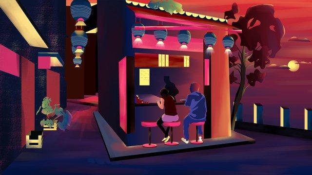 야간 거리라면 가게 그림 삽화 소재