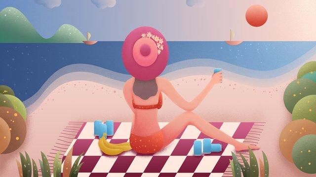 Summer beach girl drinking wine against the sea, Summer, Beach, Girl illustration image
