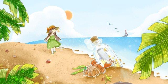 ドリフトボトルと夏のビーチの女の子 イラストレーション画像 イラスト画像