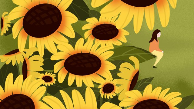 Simple and fresh place summer sunflower, Summer, Girl, Sunflower illustration image