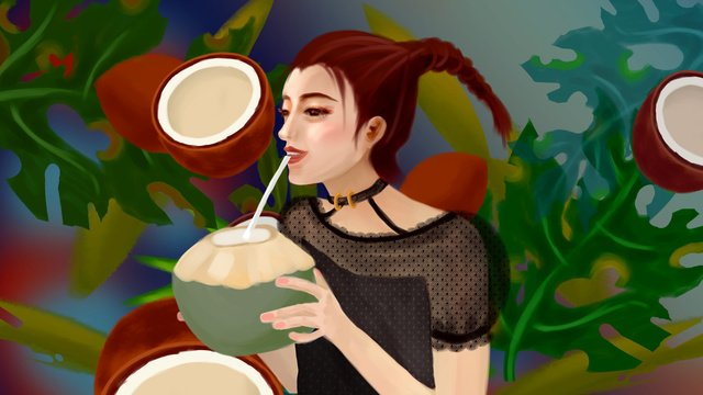 Summer season fruit leaves girl drinking coconut juice, Summer, Season, Summer illustration image