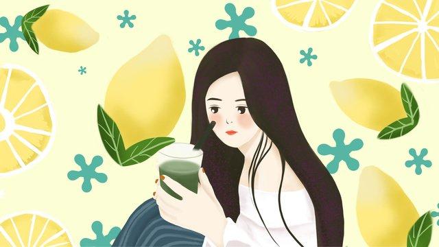 Simple summer fresh lemon girls illustration llustration image illustration image