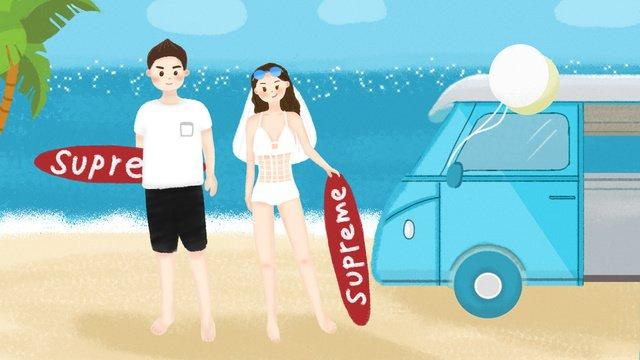 Original summer personality seaside wedding illustration llustration image illustration image