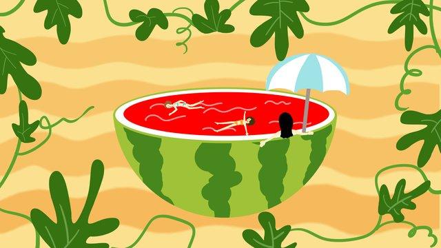 暑去涼來西瓜泳池游泳去暑創意插畫處暑  暑氣至此而止矣  暑去涼來PNG和PSD圖片素材 illustration image