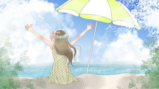 夏のシーン、ビーチで遊ぶ小さな新鮮な女の子 イラストレーション画像 イラスト画像