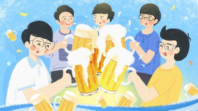夏天暑假男孩喝啤酒暢飲圖原創插畫夏天  夏季  暑假PNG和PSD圖片素材 illustration image