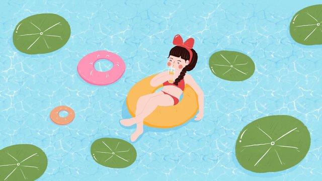 夏天暑假姑娘游泳原創小清新插畫夏天  暑假  暑氣PNG和PSD圖片素材 illustration image