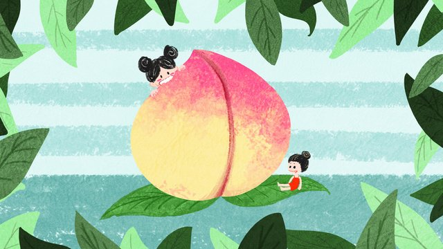 Summer to cool cute girl eating peach cartoon hand drawn illustration, Summer, Twenty-four Solar Terms, Summer Heat Is Here To Stop illustration image