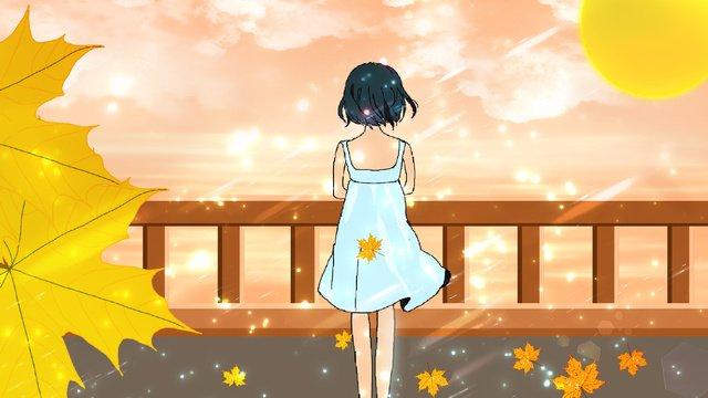 Girl illustrator under the autumn sunset, Sunset, Girl, Fresh illustration image