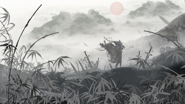 중국어 잉크 관용구 이야기 그림 xiajia 산 일몰 삽화 소재 삽화 이미지