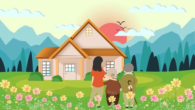 Sunset sky Cloud bird, House, Mountain Peak, Tree illustration image