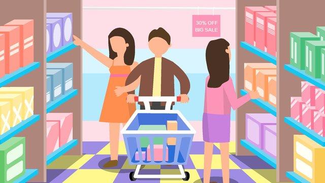 2 5dスーパーディスカウントショッピング棚商品購入 イラスト素材