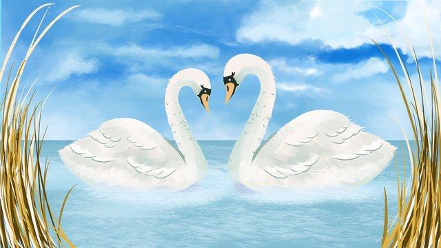 Swan couple wedding scene llustration image