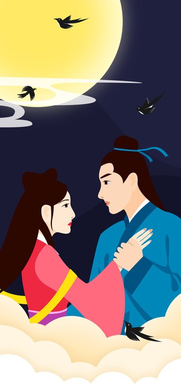七夕祭り臆病者とウィーバーカップルのベクトル図 イラスト素材 イラスト画像