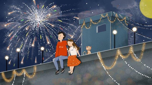 Romantic tanabata couple watching fireworks, Tanabata, Couple, Romantic illustration image