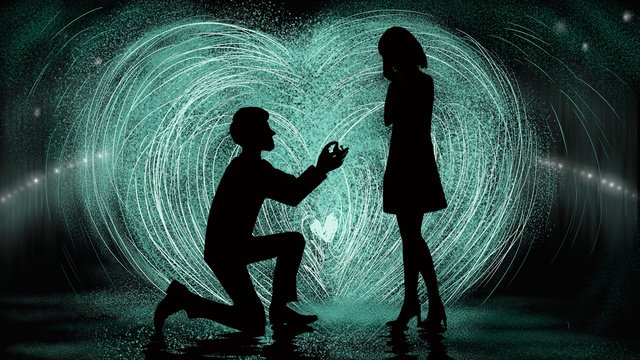 valentines day proposal of a couple lovers under the fireworks llustration image