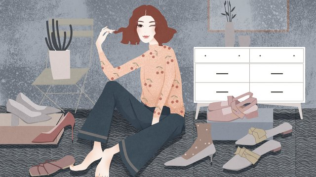 A retro vintage illustration of fashion girl who is tangled in choosing shoes, Tangled, Shoes, Fashion illustration image