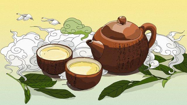 Оригинальная китайская чайная церемония чай ест рисованной иллюстрации Ресурсы иллюстрации Иллюстрация изображения