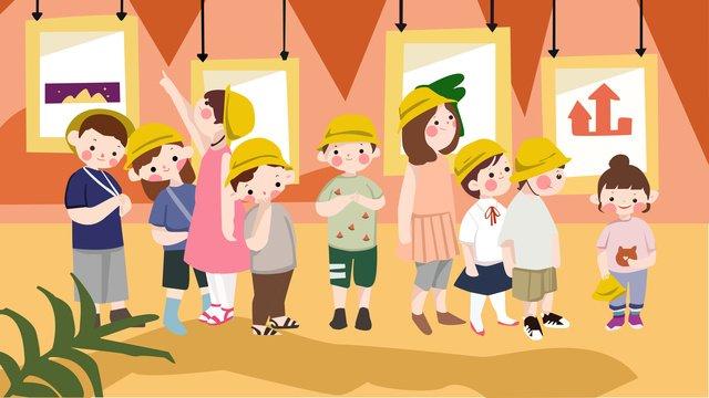 In the beginning of school season teacher took students to see exhibition illustration., Teacher, Starting School, School Season illustration image