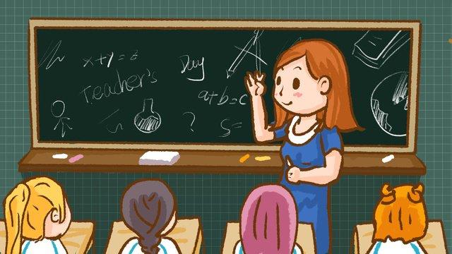 かわいい漫画の先生の日の教室のシーン イラスト素材 イラスト画像