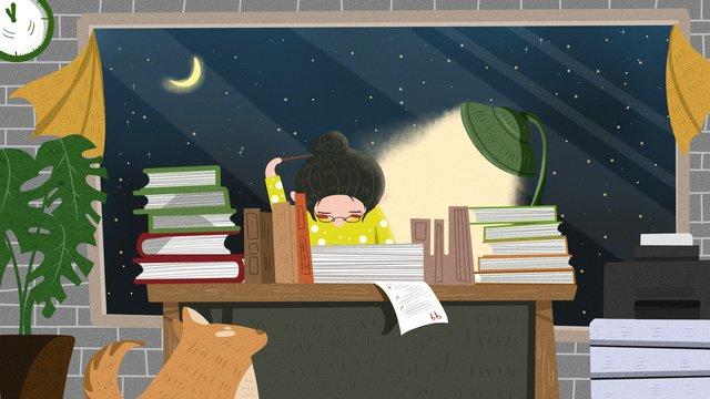 Простой и свежий учитель день офис поздно ночью сверхурочные иллюстрации сцены Ресурсы иллюстрации