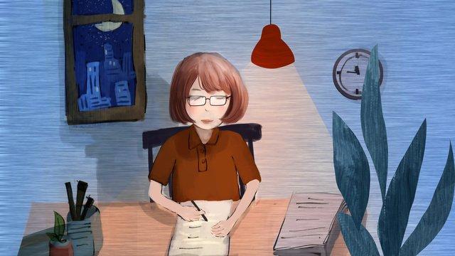 Учитель работает круглосуточно чтобы исправить домашнюю работу Ресурсы иллюстрации