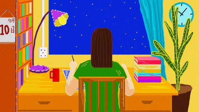先生の日の夜オリジナルイラスト イラストレーション画像