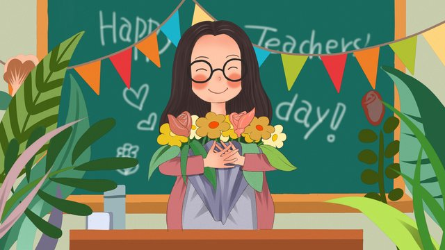 Teachers day teacher happy holidays flowers dedicated to you original illustration, Teachers Day, Teacher, Happy Holiday illustration image