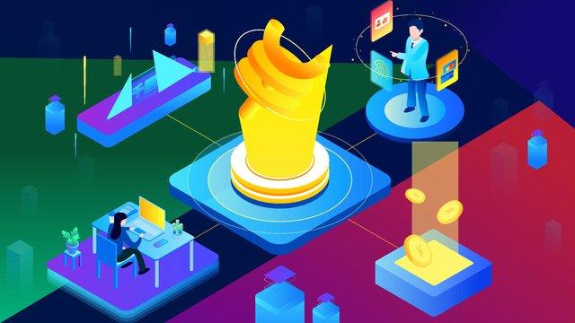Technology blockchain finance business office character scene 25d gradient llustration image illustration image