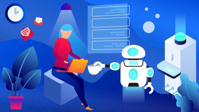 Technology future artificial intelligence robot gradient vector illustration, Technology Future, Artificial Intelligence, Robot illustration image