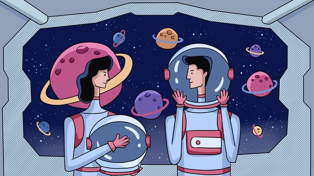 Science and technology future exploration of cosmic aviation couple sci fi illustration llustration image
