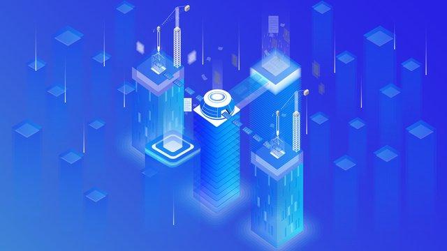 small fresh blue technology future mobile phone illustration llustration image