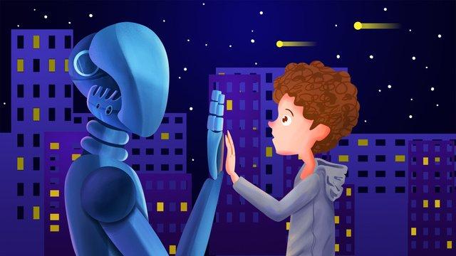 Технология робота искусственный интеллект будущих молодых людей и технологии современных Ресурсы иллюстрации