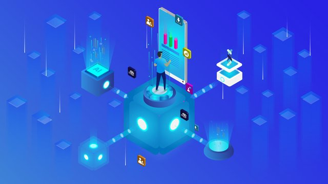 Small fresh blue technology future 2.5d illustration, Technology Future, Technology, Future illustration image