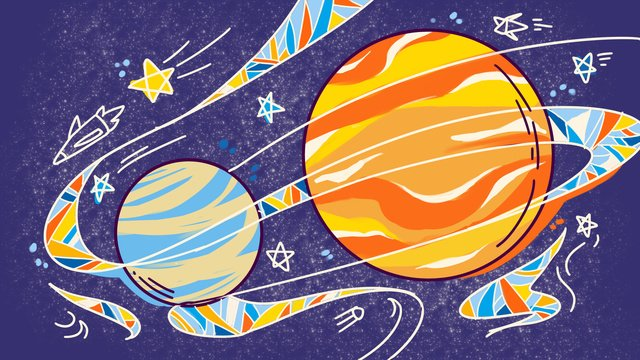 technology future universe exploration planet color stroke hand drawn illustration llustration image