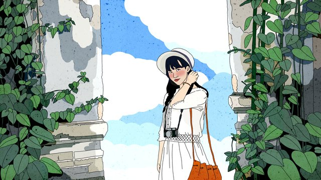 original girl watching the scenery fresh illustration of distant travel llustration image