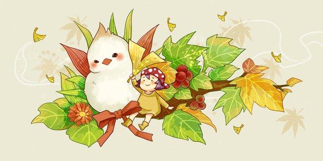 Autumn hello girl fat, Teenage Girl, Fat, Little Bird illustration image