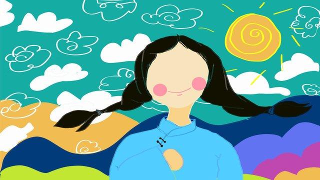 Simple cute cartoon country girl illustration, Teenage Girl, Simple, Small Fresh illustration image