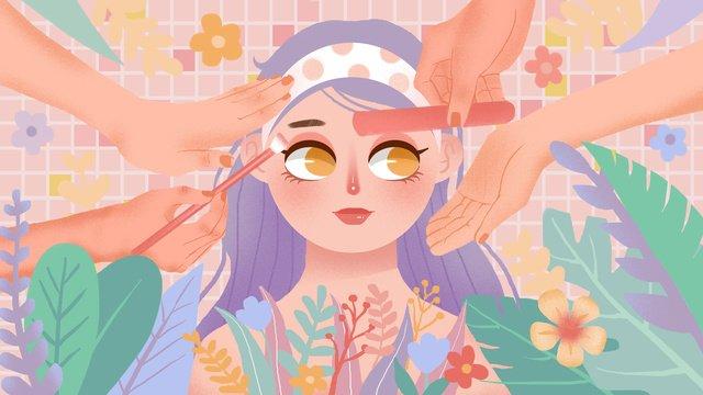 소녀 스킨 케어 뷰티 매일 일러스트 레이션 삽화 소재