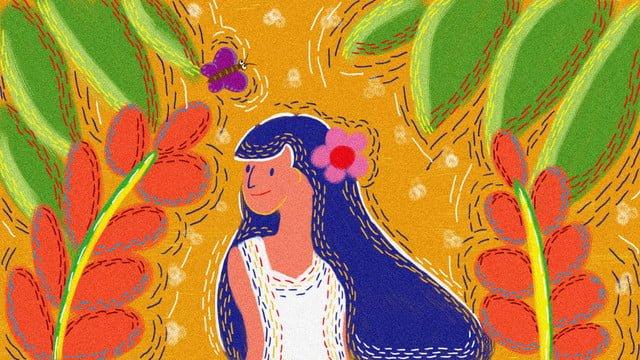 元の女の子のレトロな質感のイラスト イラスト素材 イラスト画像